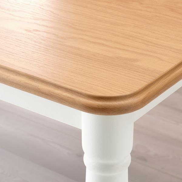 DANDERYD طاولة طعام, قشرة سنديان/أبيض, 130x80 سم