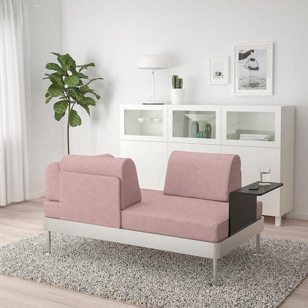 DELAKTIG 2-seat sofa with side table, Gunnared light brown-pink