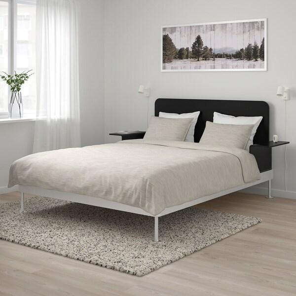 DELAKTIG Bed frame/headboard/2 side tables, aluminium/black, 160x200 cm