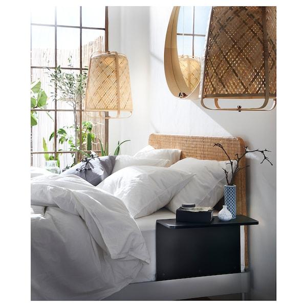 DELAKTIG Bed frame/headboard/2 side tables, aluminium/rattan, 160x200 cm