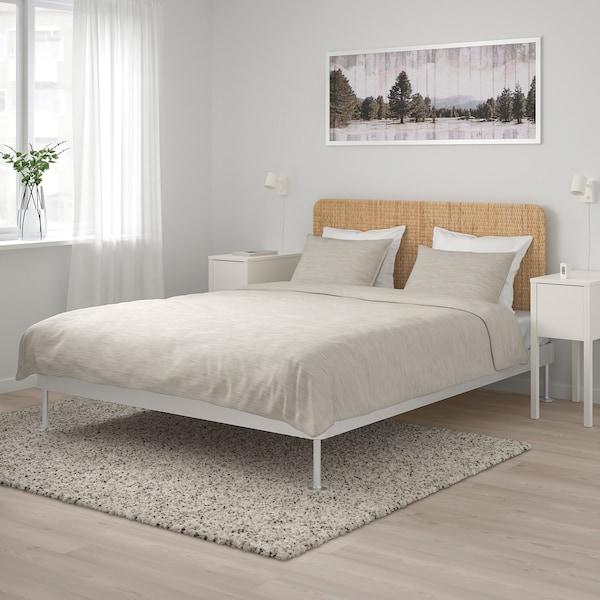 DELAKTIG Bed frame with headboard, aluminium/rattan, 160x200 cm