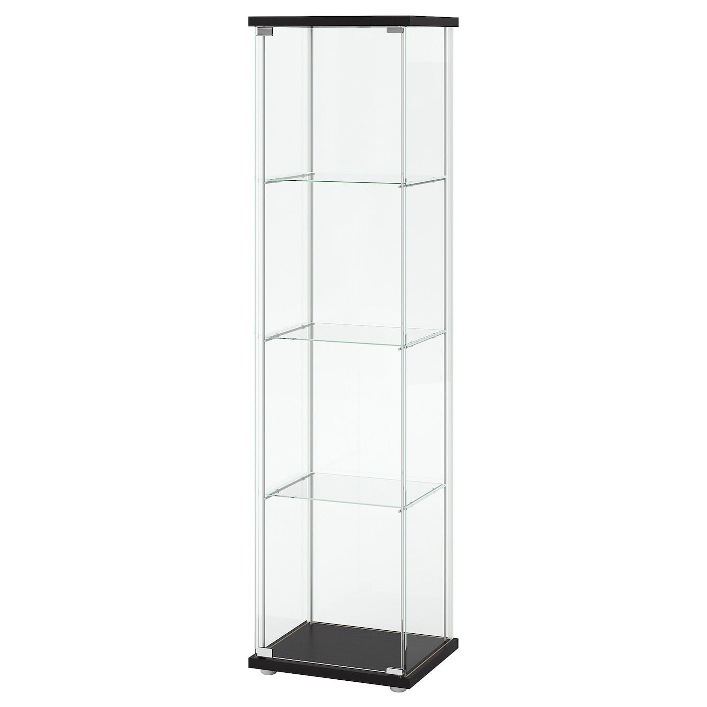 Glass Door Cabinet Detolf Black Brown