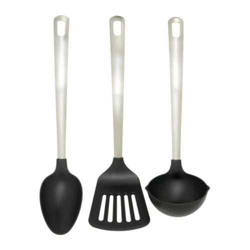 DIREKT 3-piece kitchen utensil set IKEA Kind to pots and pans with non-stick coating.