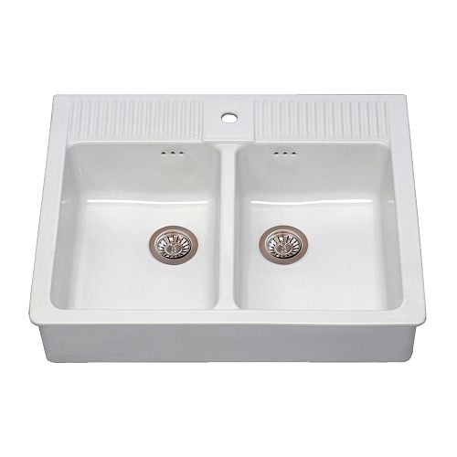 DOMSJÖ Double bowl sink IKEA 25 year guarantee.   Read about the terms in the guarantee brochure.
