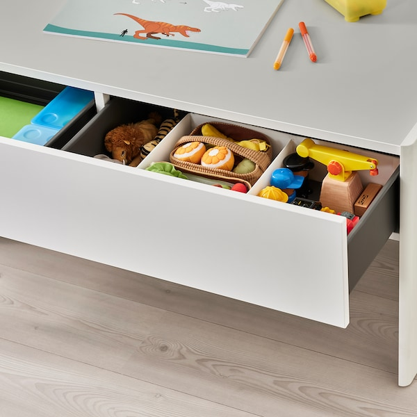 DUNDRA Activity table with storage, white/grey