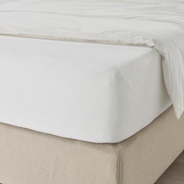 DVALA Fitted sheet, white, 160x200 cm