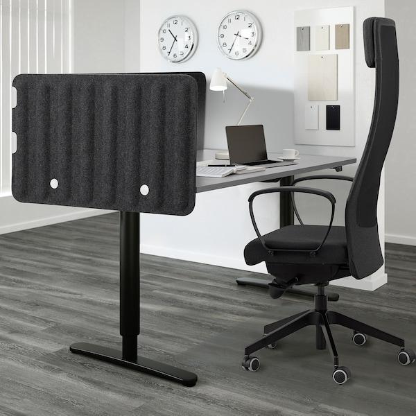 EILIF Screen for desk, dark grey, 80x48 cm