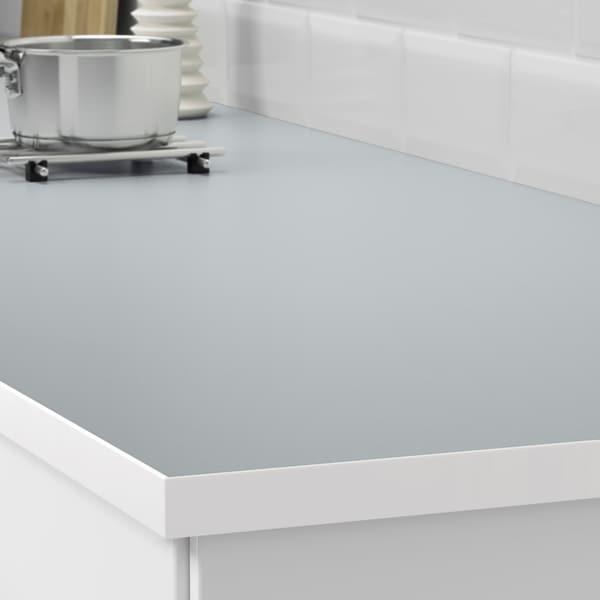 EKBACKEN سطح عمل, مزدوج الجوانب, مع حافة بيضاء رمادي فاتح/أبيض/صفائح رقيقة, 186x2.8 سم