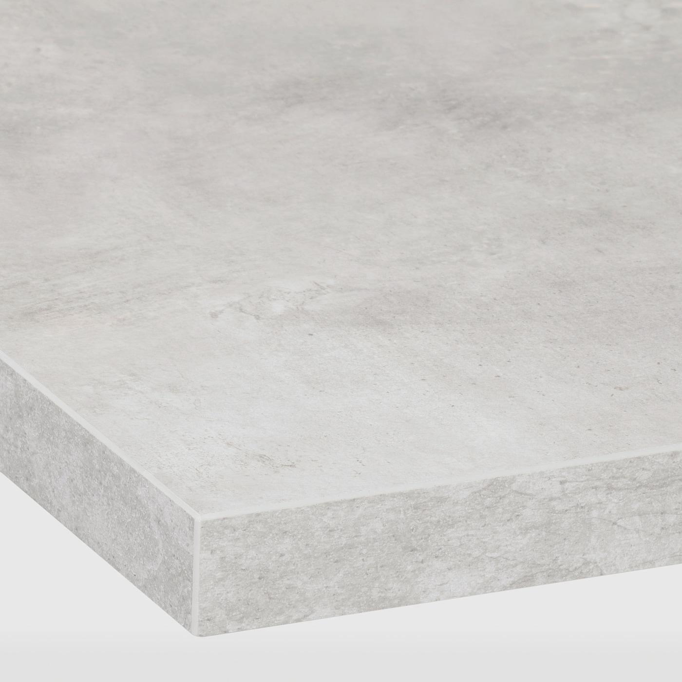 EKBACKEN Worktop - light grey concrete effect/laminate 4x4.4 cm