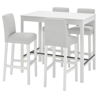 EKEDALEN / BERGMUND Bar table and 4 bar stools, white/Orrsta light grey/white