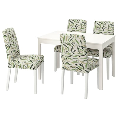 EKEDALEN / BERGMUND Table and 4 chairs, white/Fågelfors multicolour, 120/180 cm