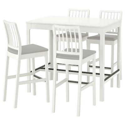 EKEDALEN طاولة عالية و 4 مقاعد عالية, أبيض/Orrsta رمادي فاتح, 120 سم