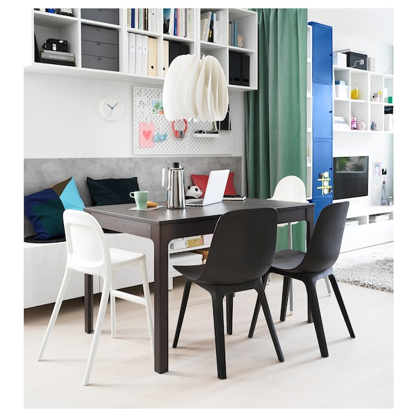 EKEDALEN طاولة قابلة للتمديد, بني غامق, 120/180x80 سم