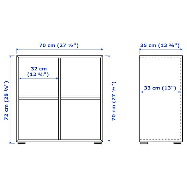 EKET Cabinet combination with feet, light grey, 70x35x72 cm