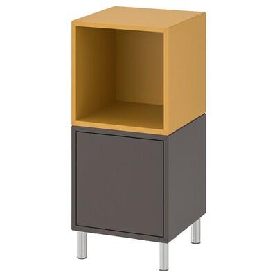 EKET Cabinet combination with legs, dark grey/golden-brown, 35x35x80 cm