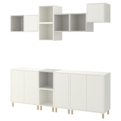 EKET Cabinet combination with legs, white/light grey, 210x35x210 cm