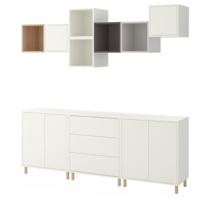 EKET Cabinet combination with legs, white/white stained oak effect light grey/dark grey, 210x35x210 cm