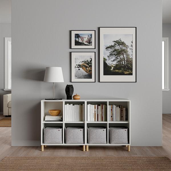 EKET تشكيلة خزانات بأرجل, أبيض/خشب, 140x35x80 سم