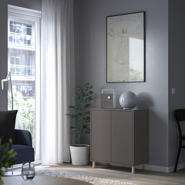EKET Cabinet w 2 doors and 2 shelves, dark grey, 70x25x70 cm