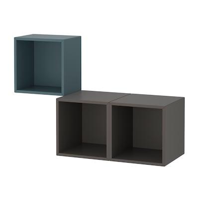 EKET Wall-mounted cabinet combination, grey-turquoise/dark grey, 105x35x70 cm