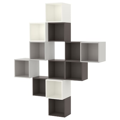 EKET Wall-mounted cabinet combination, white/dark grey/light grey, 175x35x210 cm