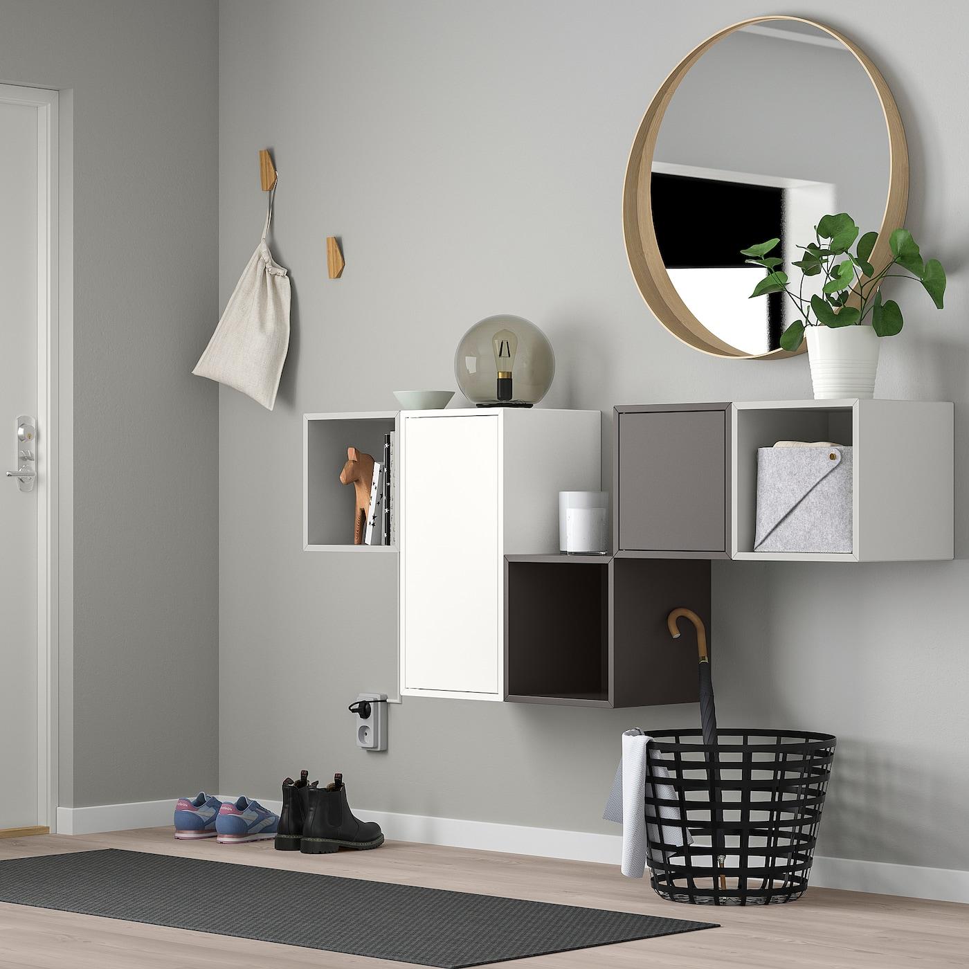 EKET تشكيلة خزانة حائطية, أبيض/رمادي فاتح/رمادي غامق, 175x35x70 سم