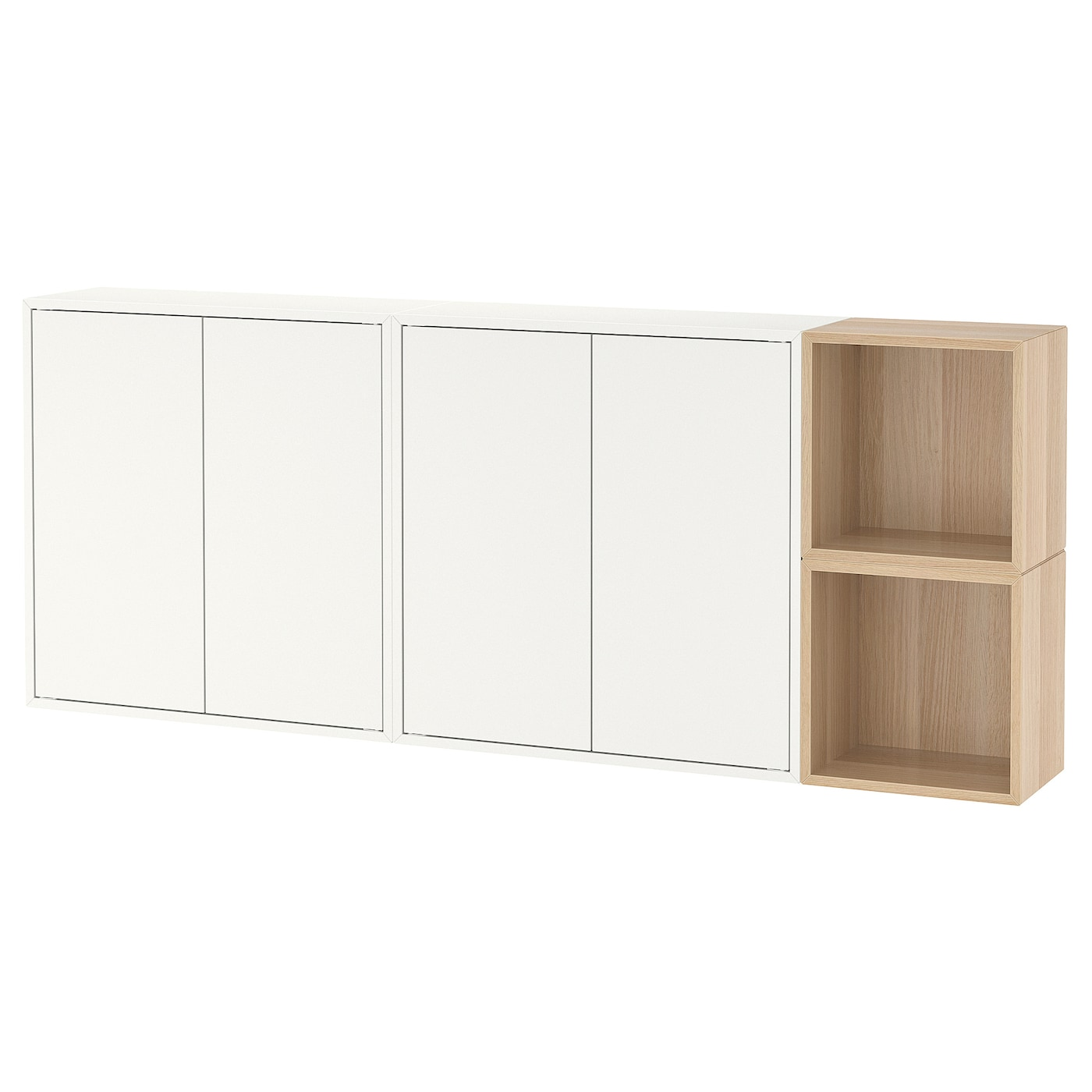 Wall Mounted Cabinet Combination Eket White White Stained Oak Effect
