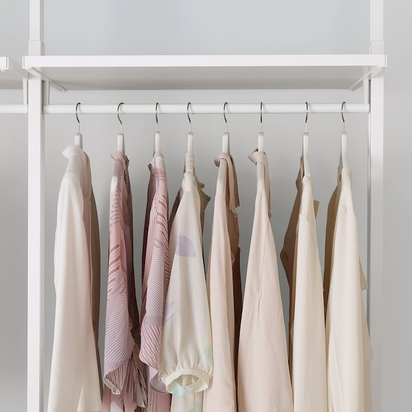ELVARLI 4 sections/shelves, white, 303x51x222-350 cm