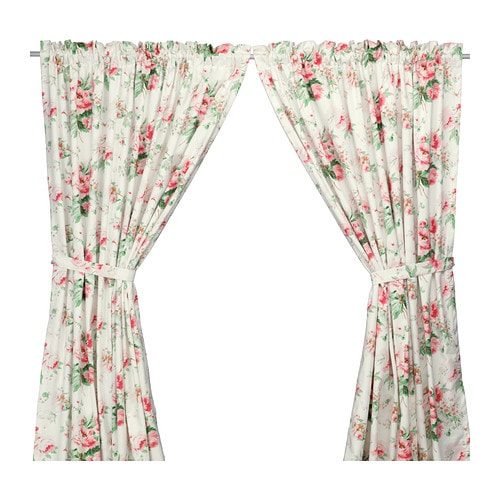 EMMIE Curtains with tie-backs, 1 pair IKEA Lined with thin curtains; filter light even better.