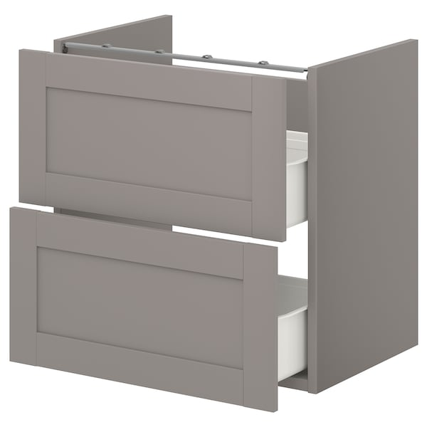 ENHET خزانة قاعدة لحوض مع درجين, رمادي/رمادي هيكل, 60x42x60 سم