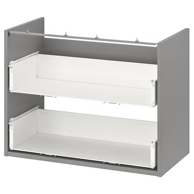 ENHET خزانة قاعدة لحوض مع درجين, رمادي, 80x40x60 سم