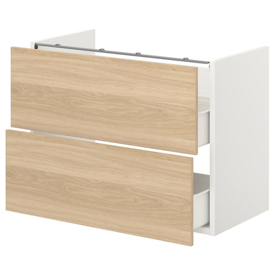 ENHET Base cb f washbasin w 2 drawers, white/oak effect, 80x42x60 cm