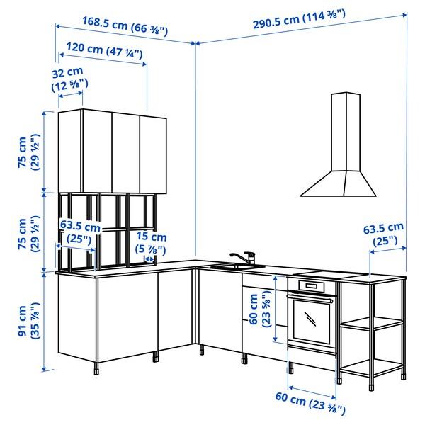 ENHET مطبخ زاوية, فحمي/رمادي هيكل