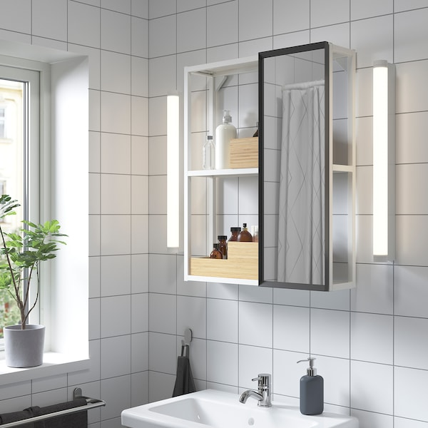 ENHET Mirror cabinet, white, 60x15x75 cm