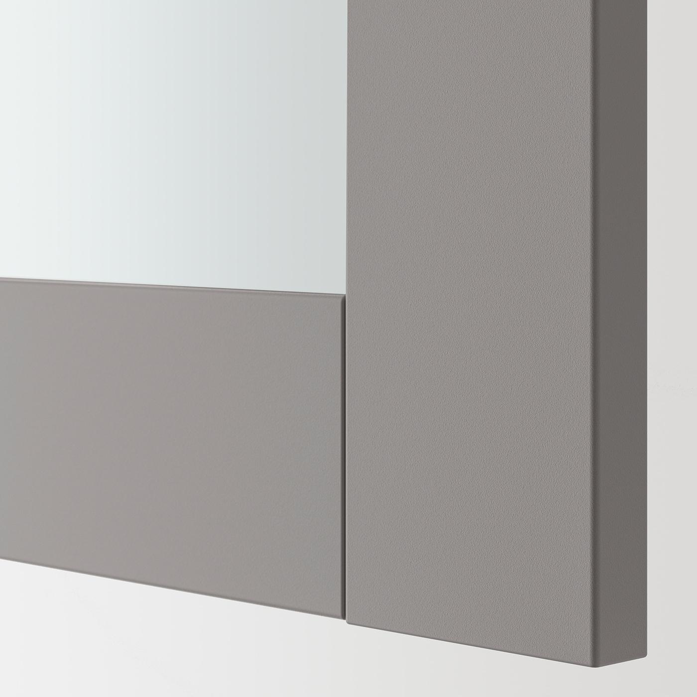 ENHET خزانة بمرآة مع بابين, رمادي/رمادي هيكل, 60x17x75 سم