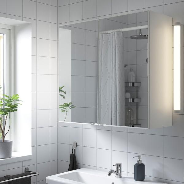 ENHET خزانة بمرآة مع بابين, أبيض, 80x32x75 سم