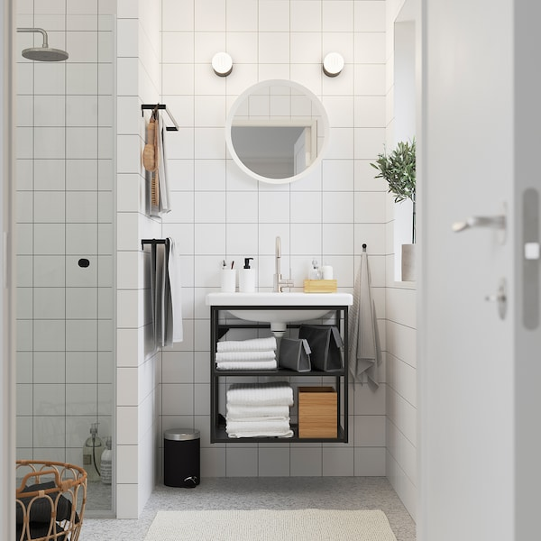 ENHET / TVÄLLEN Open wash-stand with 2 shelves, anthracite/Glypen tap, 64x43x65 cm