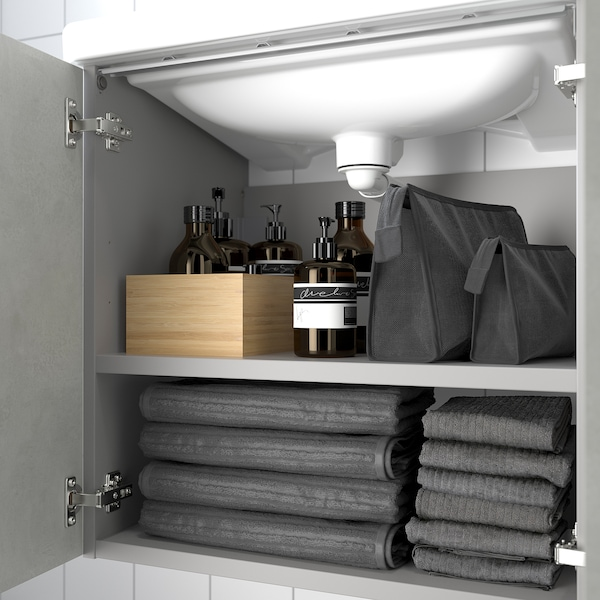 ENHET / TVÄLLEN Wash-basin cabinet with 2 doors, concrete effect/grey Pilkån tap, 64x43x87 cm