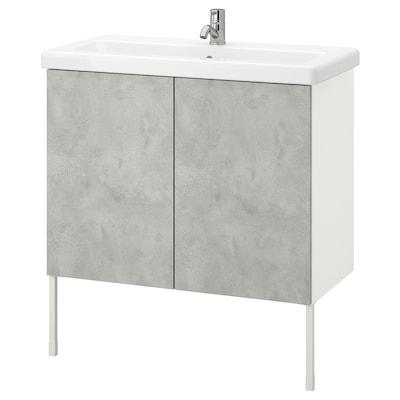 ENHET / TVÄLLEN Wash-basin cabinet with 2 doors, concrete effect/white Pilkån tap, 84x43x87 cm