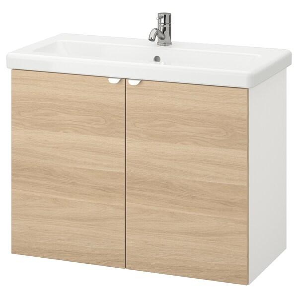 ENHET / TVÄLLEN Wash-basin cabinet with 2 doors, oak effect/white Pilkån tap, 84x43x65 cm