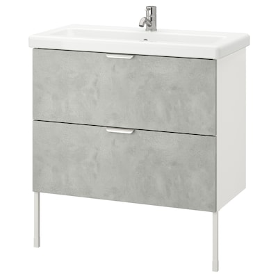 ENHET / TVÄLLEN Wash-stand with 2 drawers, concrete effect/white Pilkån tap, 84x43x87 cm