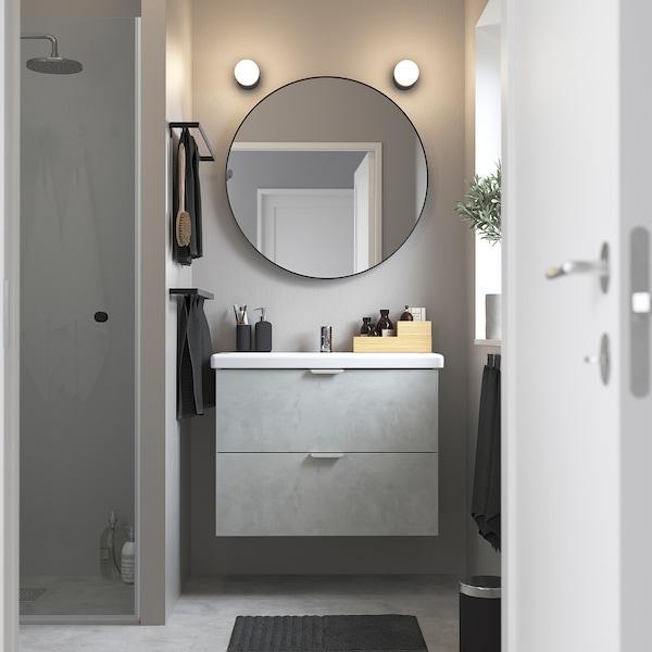 ENHET / TVÄLLEN Wash-stand with 2 drawers, concrete effect/white Pilkån tap, 84x43x65 cm