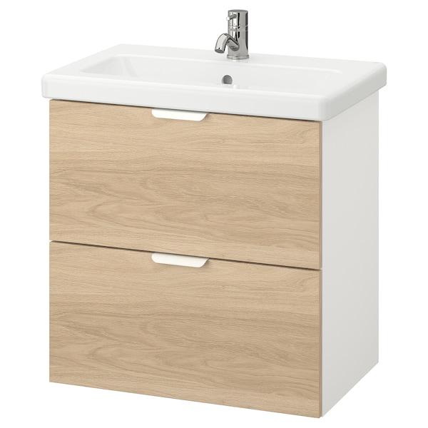ENHET / TVÄLLEN Wash-stand with 2 drawers, oak effect/white Pilkån tap, 64x43x65 cm