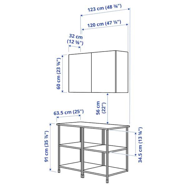 ENHET تشكيلة تخزين حائطية, فحمي/أبيض, 123x63.5x207 سم