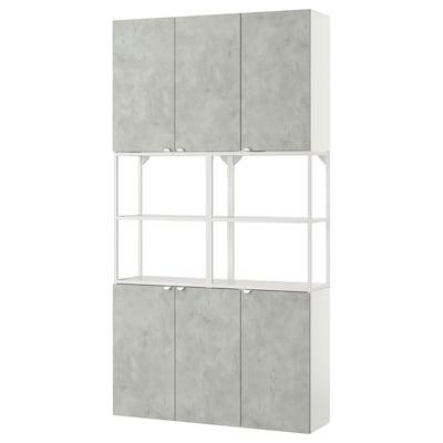 ENHET تشكيلة تخزين حائطية, أبيض/تأثيرات ماديّة., 120x30x225 سم