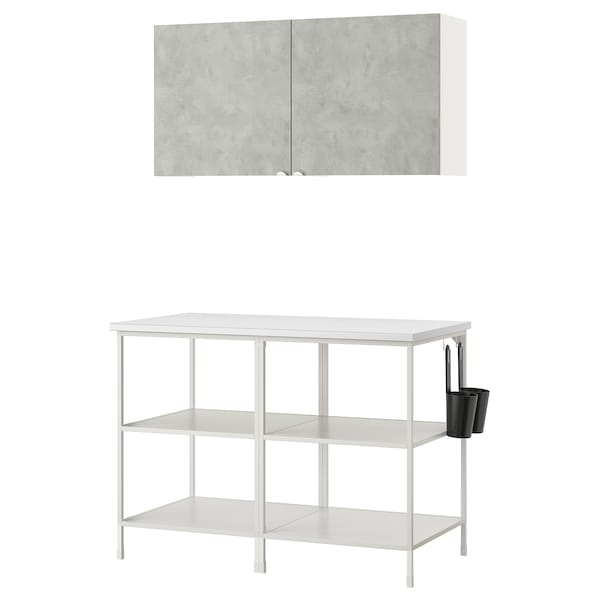 ENHET تشكيلة تخزين حائطية, أبيض/تأثيرات ماديّة., 123x63.5x207 سم