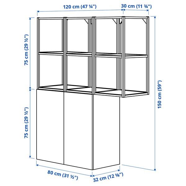 ENHET تشكيلة تخزين حائطية, أبيض/رمادي هيكل, 120x32x150 سم