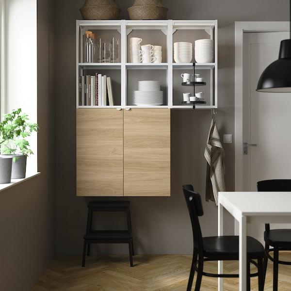 ENHET تشكيلة تخزين حائطية, أبيض/شكل السنديان, 120x32x150 سم