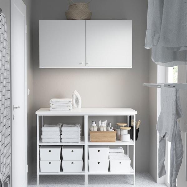 ENHET تشكيلة تخزين حائطية, أبيض, 123x63.5x207 سم