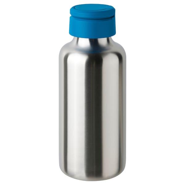 ENKELSPÅRIG Water bottle, stainless steel/bright blue, 0.5 l